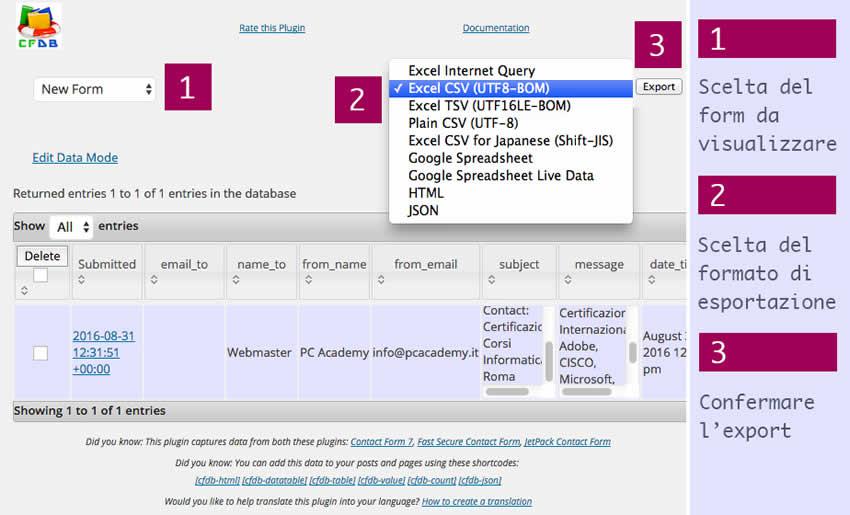 Schermata-Esportazione-plugin-Contact-Form-DB